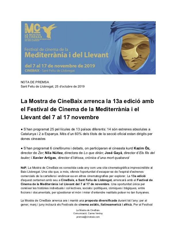 Publicació 2019 CineBaix Cinema Mediterrània i Llevant